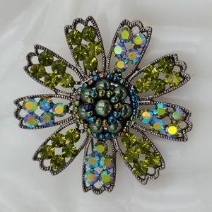 Green Rhinestone & Seed Bead Flower Brooch